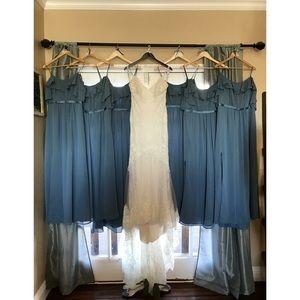Steel Blue David's Bridal Bridesmaids Dress